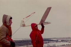 Dave Newman his brother Neville holding the sailplane 1975_Westover